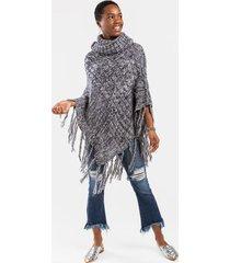 lesslie knit fringed poncho - navy