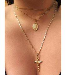 collar de múltiples capas con cruz de jesús en color dorado