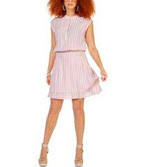 black tape striped smocked-waist dress
