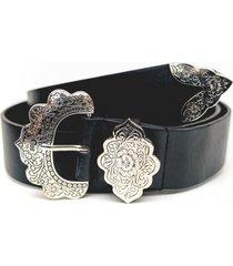 cinturon hebilla flor negro guinda