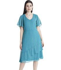 vestido manga corta con vuelos turquesa lorenzo di pontti