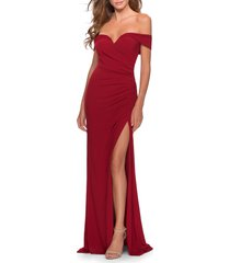 women's la femme off the shoulder jersey gown, size 12 - red