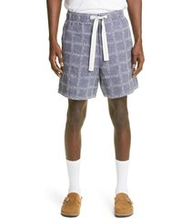jw anderson logo linen shorts, size 36 us - blue