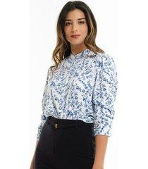 blusa blanca con estampado azul para mujer 97445