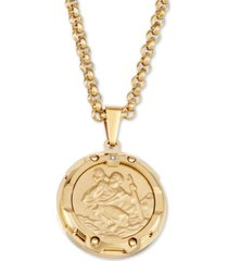 "men's diamond accent st. christopher medallion 24"" pendant necklace in yellow ion-plated stainless steel"