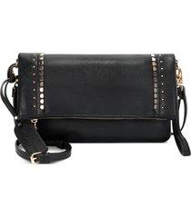 sole society studded foldover faux leather crossbody bag - black