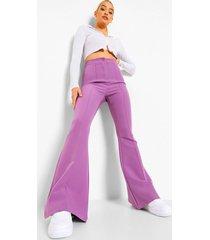 geweven broek met wijde pijpen, lilac