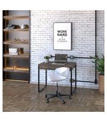 mesa de escritório kuadra 2 gv marrom escuro 90 cm