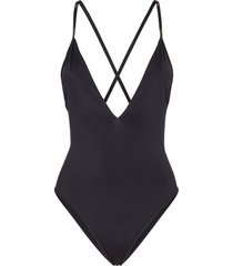fendi reversible ff print swimsuit - black