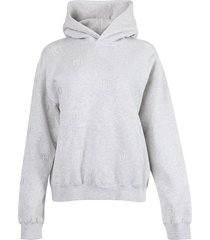 long sleeve hoodie with allover embroidery