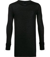 rick owens fitted round-neck sweatshirt - black