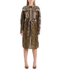 burberry chamisier dress with animalier patchwork motif
