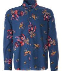 paul smith 'lillies' print lyocell and cotton shirt | blue | 687u-f21238