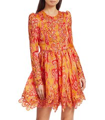 zimmermann women's brightside rouleaux puff-sleeve mini dress - golden ikat - size 0 (2-4)