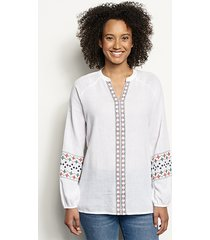 long-sleeved embroidered popover shirt, x large