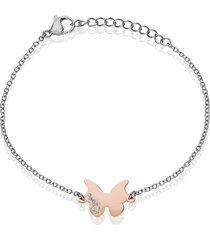 bracciale con charm farfalla in acciaio bicolore e strass per donna