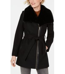 inc asymmetrical faux-fur-collar belted coat, created for macy's