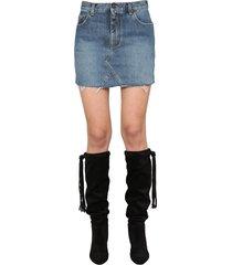 saint laurent cotton denim skirt