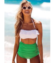 sw78 celebrity fashion lookbook sexy ruffle high waisted  green and white bikini
