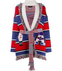 alanui colour-block belted cardigan - red