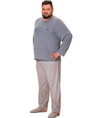 pijama longo masculino plus size listrado família luna cuore