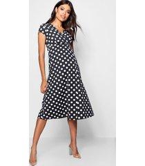 maternity polka dot wrap dress, black