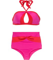amir slama high waist bikini set - pink
