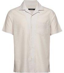 daniel resort ss-silk speckle overhemd met korte mouwen beige j. lindeberg