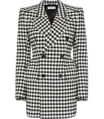 balenciaga checked wool hourglass waist blazer - black
