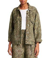 iro women's empathy leopard oversized jean jacket - khaki - size 38 (6)
