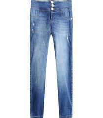 jean skinny pretina ancha color azul, talla 12