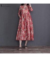 vestido largo a media pierna con estampado floral de manga larga zanzea vintage para mujer vestido a media pierna retro de kaftan -rojo