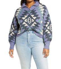 plus size women's bp. zip mock neck sweater, size 1x - blue