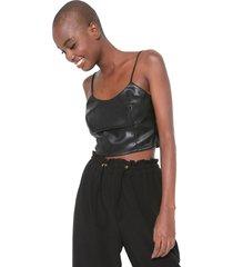 regata cropped resinado colcci ajustada preto - preto - feminino - dafiti
