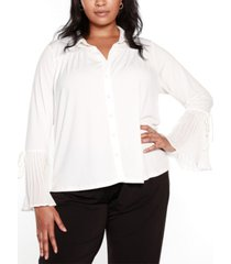 belldini black label plus size bell sleeve button front blouse