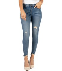 women's kut from the kloth connie high waist destroyed hem ankle skinny jeans, size 10 - blue