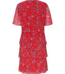 jurk met korte mouwen en bloemdessin van samoon multicolour