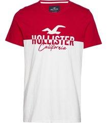 tech logo splicing t-shirts short-sleeved röd hollister