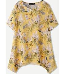 camicetta casual da donna con bottoni asimmetrici con stampa di fiori