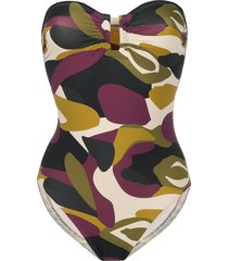 eres camouflage strapless swimsuit - green