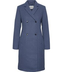 odelia coat wollen jas lange jas blauw modström