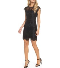 women's bb dakota jayce lace sheath cocktail dress, size 14 - black
