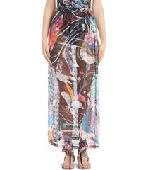 missoni floral cover-up skirt, size 2 us in monstera nera at nordstrom