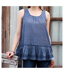 cotton blend sleeveless blouse, 'cadet blue charm' (india)