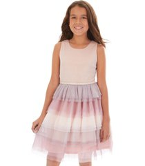 bcx big girls glitter ombre tiered-tulle dress