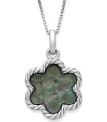 """engraved black mother of pearl 13mm flower pendant with 18"""" chain in sterling silver"""