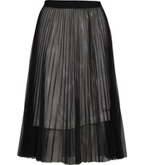 pleated mesh double layer skirt knälång kjol svart calvin klein jeans