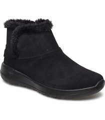 womens on-the-go joy - bundle up shoes boots ankle boots ankle boot - flat svart skechers