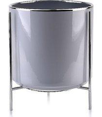 kwietnik metalowy osłonka ceramiczna szara m