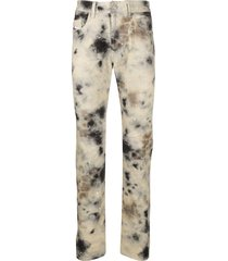 diesel red tag tie-dye print straight trousers - neutrals